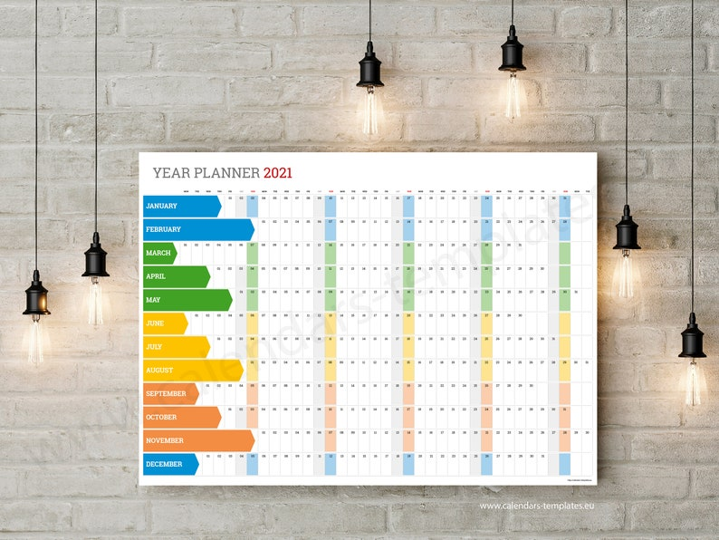 2021 wall planner. Printable Yearly Wall Planner Calendar ...