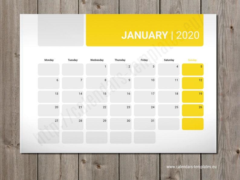 Calendario Fotografico 2020.2020 Modulo Pdf Calendario Foto Modello Agenda Parete Mensile O Desk Planner Pm W5