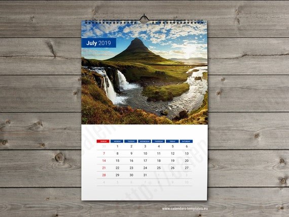 2019 Wall Calendar Template Custom Photo Wall Calendar Etsy
