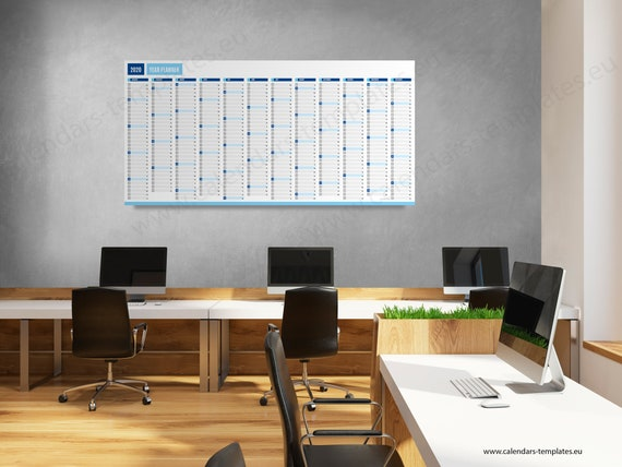 W4 2020 Printable.2020 Large Yearly Wall Horizontal Planner Kp W4 Long