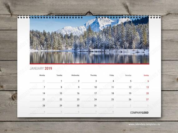 2019 Monthly Horizontal Wall Calendar Template Custom Photo Etsy