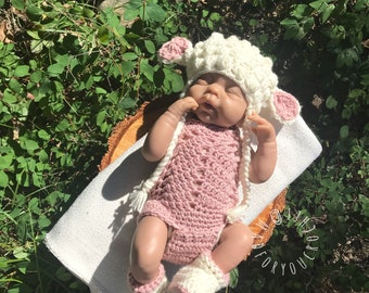 Crochet Lamb Set/ Crochet Easter Set/ Easter Outfit/ Halloween costume/ Crochet Newborn Prop/ Baby Shower Gift/ Baby Lamb/ Baby Girl Prop & Newborn halloween costume | Etsy