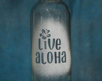 Etched Glass Water Bottle Live Aloha with hibiscus flower