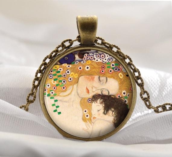 Moeder En Kind Ketting Gustav Klimt Hanger Kunst Cadeau Voor Moeder En Haar Vintage Brons Kunstenaar Sieraden