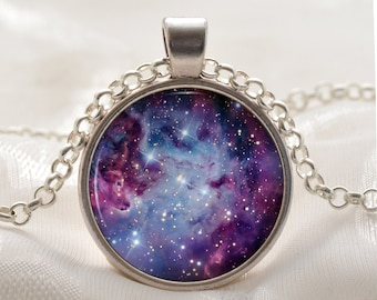 Galaxy Necklace - Fox Fur Nebula - Purple Space Jewelry - Universe Gifts for Her