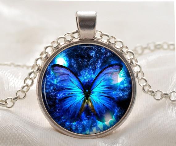 Blue Butterfly Jewelry: Blue Butterfly Necklace Butterfly Pendant Blue Jewelry