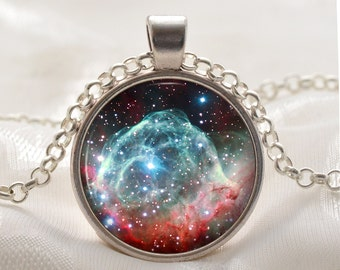 Thors Helmet Nebula Necklace - Galaxy Pendant - Space Jewelry - Sun Moon Stars Universe Gifts for Her