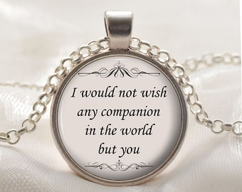 William Shakespeare Necklace - Romantic Quote Pendant - Silver Love Jewelry Gift for Wives and Girlfriends - The Tempest Act 3, Scene 1