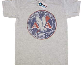 American Airlines Vintage Retro Logo T Shirt 1930 s 1940 s Grey Small to  XXL Distressed Print 53d6fe17f267d