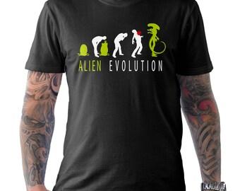 Alien Evolution Movie Film Sci-Fi Funny Geek Nerd T Shirt Black Small to XXL
