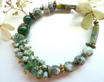 Schmuck In Grün, Jaspis, Serpentin Rechteckigen Armband, Malerischen  Armband In Grün Tönen, Dunkle Grüne Achat, Natursteine