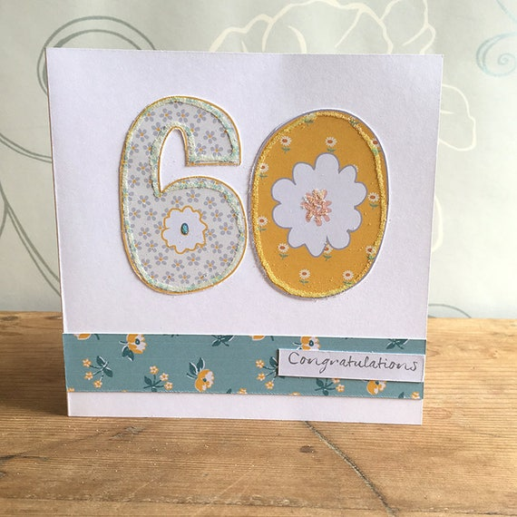 Age 60 Card 60th Birthday Card Handmade Birthday Card Age