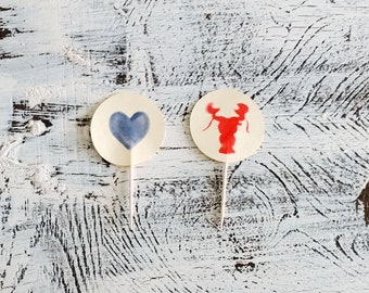 He's Her Lobster Food Flags/Cupcake Toppers