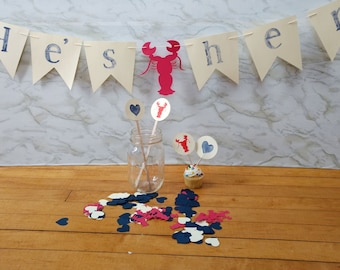He's Her Lobster Party Kit with garland, food flags, drink stirrers, & confetti