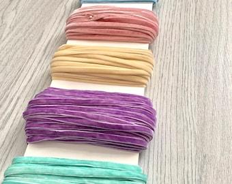 Hand Dyed Velvet Elastic | Bra Strap Elastic | Lingerie Elastic | Headband Elastic