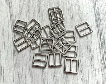 8mm Silver Square Bra Sliders | Bra Strap Adjusters | Headband Adjuster