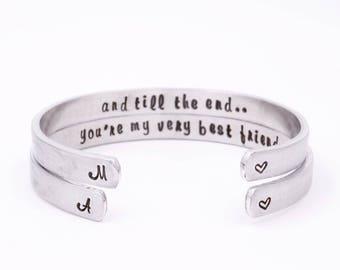Matching best friend bracelet - Youre my very best friend - Gifts for best friend - Best friend gift - Best friend intial bracelet