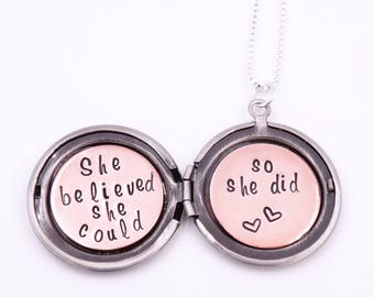 She believed she could so she did - Best friend gift - Sister gift - Locket necklace - Secret message necklace - Gift for her - Silver