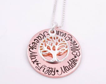 Family tree necklace - Mothers necklace - Gift for mom - Grandmother necklace - Gift for Grandma - Kids names necklace - Christmas gift for