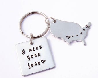 I miss your face - Long distance friendship - LDR keychain - LDR gift - Best friend long distance - Long distance relationship - Missing you
