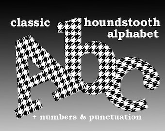 Houndstooth black and white digital alphabet clipart, font with large and small letters, numbers and punctuation marks; for commercial use