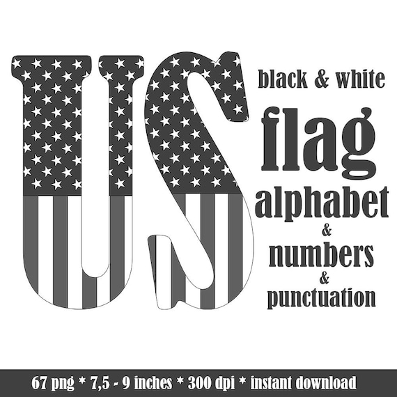 american flag alphabet clipart black and white patriotic 4th etsy