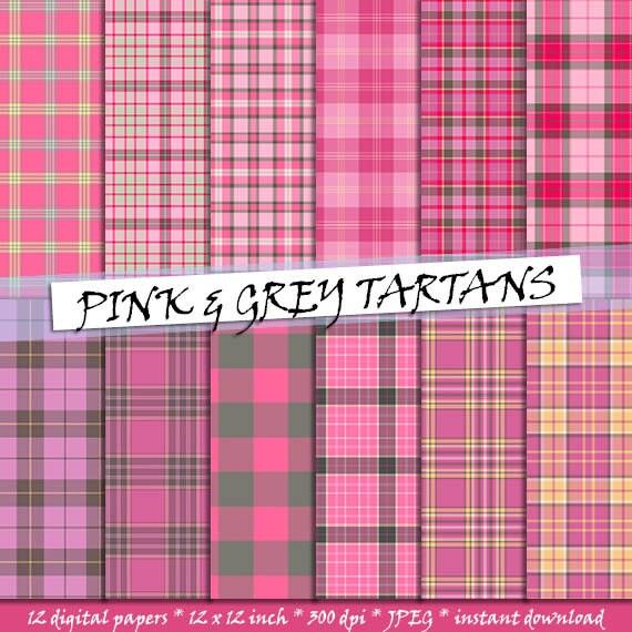 Rosa und grauen Tartan Muster Papier nahtlose schottischen | Etsy