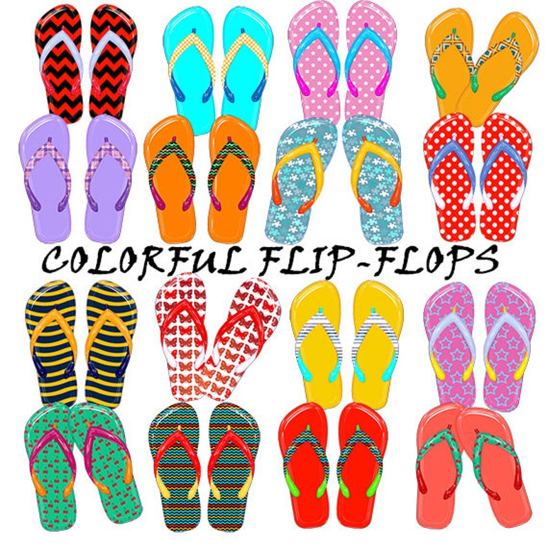 6a6a92a8aa7 Flip-flops digital clipart  colorful thongs clip art in glossy