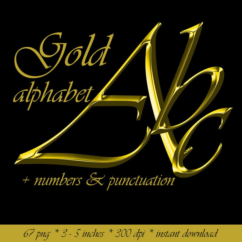 Classy gold digital alphabet clipart, golden printable font with large and  small letters, numbers and punctuation marks
