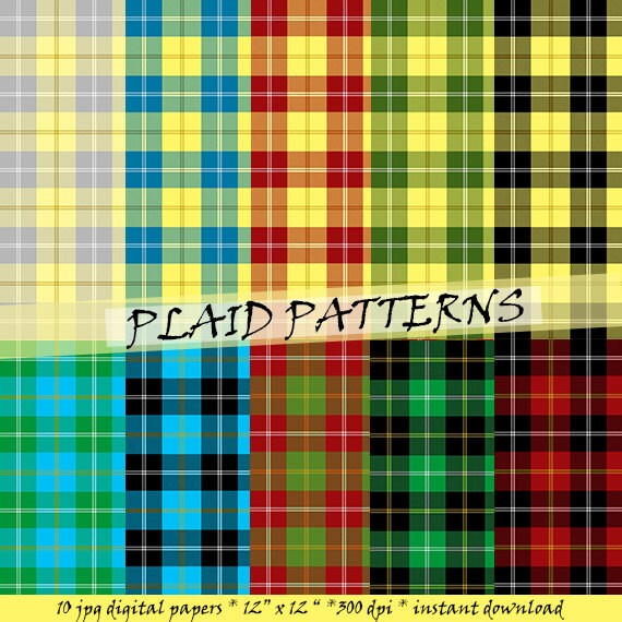 Karo-Muster Papier: Schottenkaro-Muster in schwarz rot gelb | Etsy
