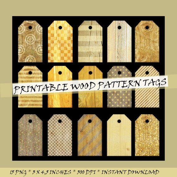 Printable Wooden Scrapbook Tags Clip Art Wood Pattern Labels Etsy