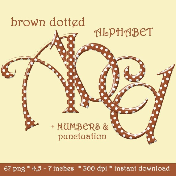 Brown polka dots digital alphabet clipart, brown dotted font with large and  small letters, numbers and punctuation marks
