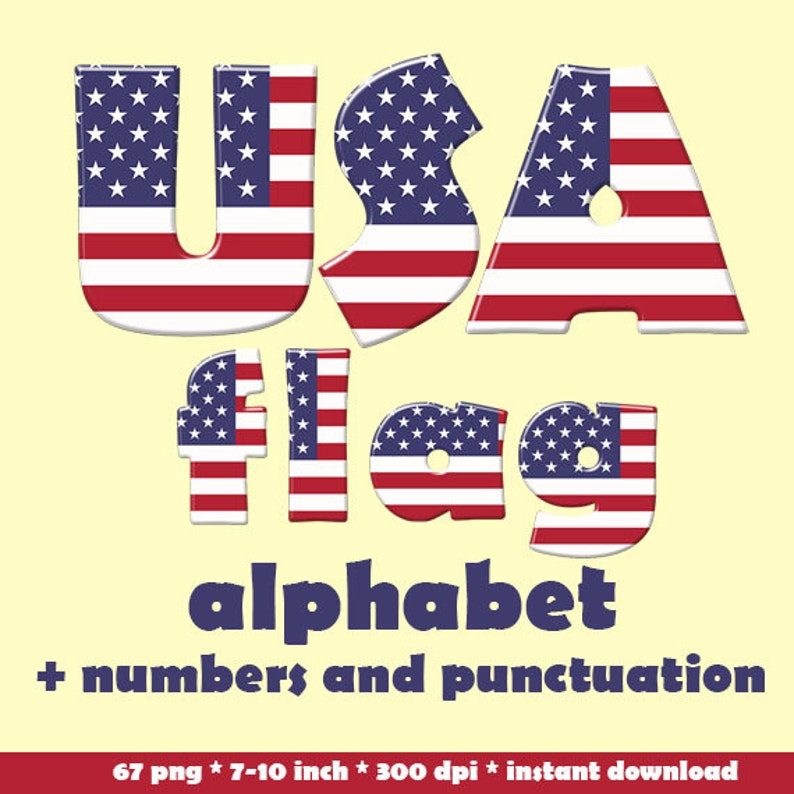 f4456455ce4 American flag alphabet clipart patriotic blue red and white