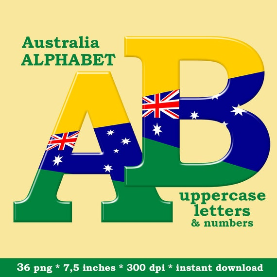 image about Australian Flag Printable known as Australia alphabet clipart, Australian flag, inexperienced, gold and blue printable font, with uppercase letters and figures; for industrial employ the service of