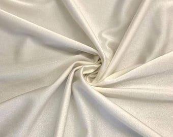 "Off White Shiny Milliskin Nylon Spandex Fabric 4 Way Stretch 58"" wide Sold By The Yard"