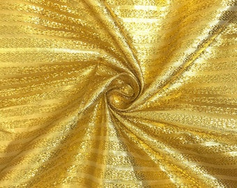 """Gold/Gold Metallic Foil Striped Brocade Fabric 45"""" Wide 100% Polyester Sold By The Yard"""