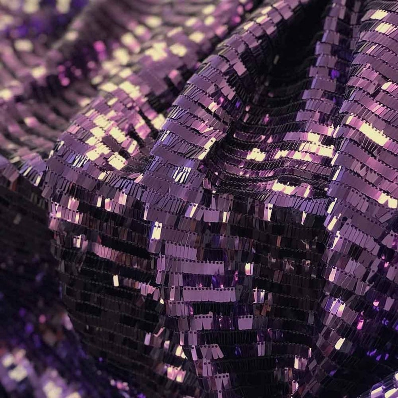 Plum Rectangle Piano Sequins on Stretch Nylon Mesh 6364 Fabric Sold BTY