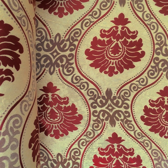 118/'/' width burgundy Embroidered Organza Fabric sold by yard