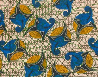 African Print Fabric Cotton Print Cyclone Peach 44'' wide By The Yard