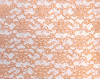 """Peach Raschel Lace Fabric FREE SHIPPING 60"""" Wide Polyester French Floral by the yard"""
