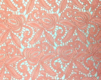 Coral/Peach Rose Guipure French Venice lace
