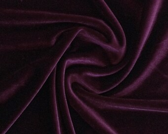 Plum Stretch Velvet Fabric 60'' Wide by the Yard for Sewing Apparel Costumes Craft