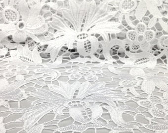 White Bell Flower Guipure French Venice lace