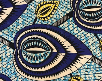 African Print Fabric Cotton Print 44'' wide By The Yard (185169-2)