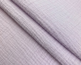 """Double Cotton Gauze Fabric 100% Cotton 51/52"""" inches Wide Crinkled Sold BTY - Lavender"""