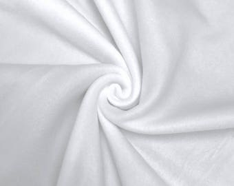 """White Solid Polar Fleece Fabric Anti-Pill 60"""" Wide By the Yard"""