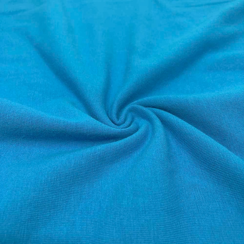fc17befd534 Turquoise Cotton Jersey Lycra Spandex Knit Stretch Fabric | Etsy