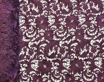 """Plum Lotus Guipure French Venice Lace Embroidery 52"""" inches wide many colors"""