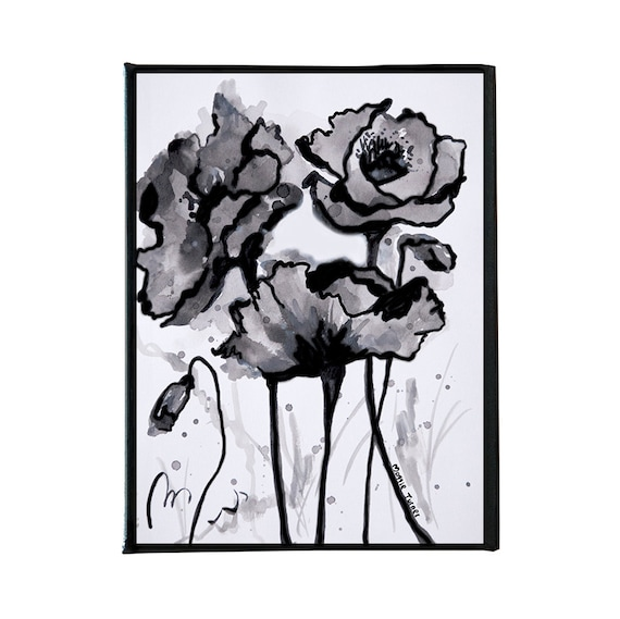 Black And White Poppies Poppy Flower Ink Painting Wall Art Etsy