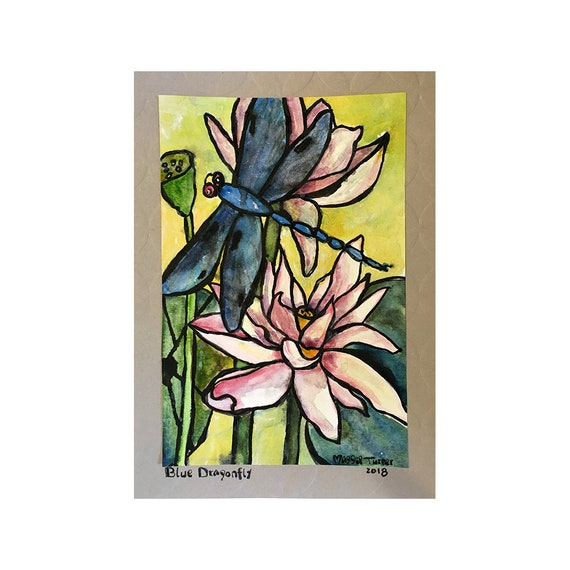 Lotus Flower Dragonfly Original Watercolor Painting Not Etsy